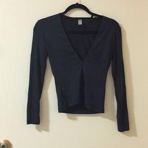 Charcoal grey long sleeve deep v neck crop top